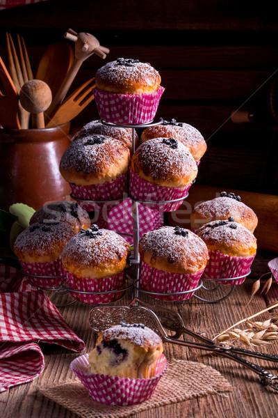 Bosbessen muffins achtergrond tabel Blauw brood Stockfoto © Dar1930