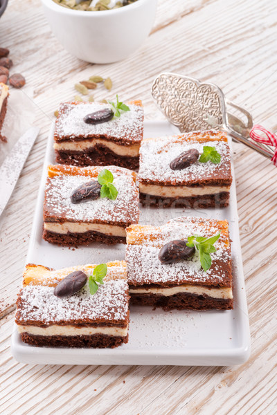 Czekolady sernik żywności domu ciasto ser Zdjęcia stock © Dar1930
