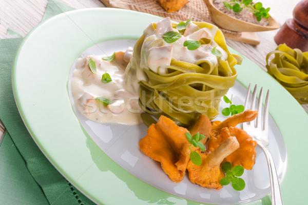 ,,tagliatelle con Spinaci,, with chanterelles Stock photo © Dar1930