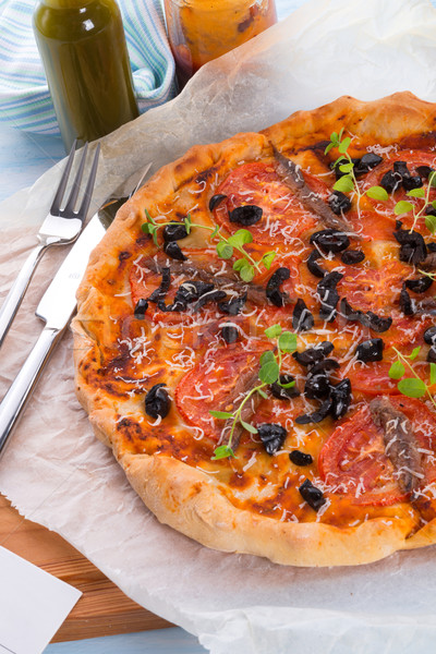 olive anchovy pizza Stock photo © Dar1930