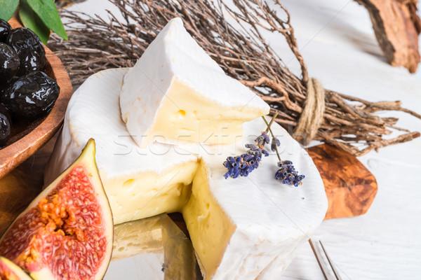 Macio queijo antipasti folha verde vermelho Foto stock © Dar1930