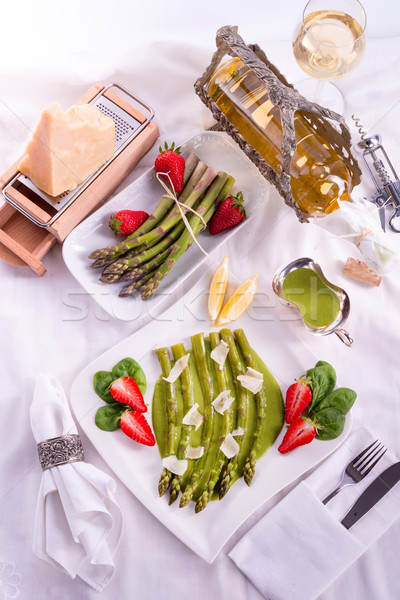 blanched asparagus and truffle sauce  Stock photo © Dar1930