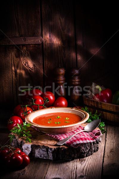 Rustik domates çorbası sonbahar domates sıcak öğle yemeği Stok fotoğraf © Dar1930