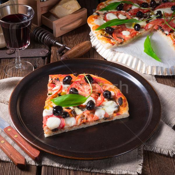 Wild garlic - margarita pizza Stock photo © Dar1930