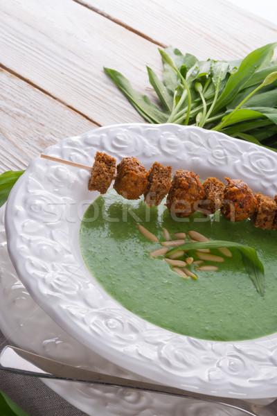 Selvatico aglio zuppa parmigiano alimentare legno Foto d'archivio © Dar1930
