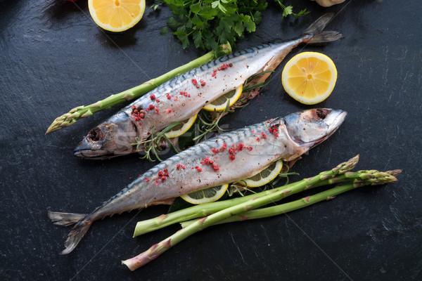 Foto d'archivio: Verde · asparagi · pesce · cucina · insalata · cuoco