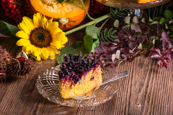 Autumn pumpkin cheesecake with cranberries Stock photo © Dar1930