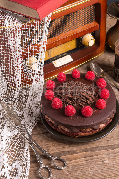 Photo stock: Gâteau · au · chocolat · café · vintage · style · fête