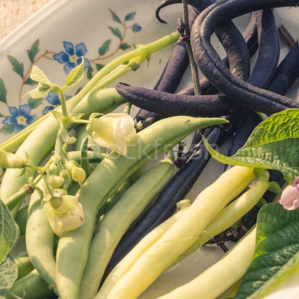 строку боб продовольствие саду зеленый обеда Сток-фото © Dar1930