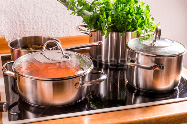 Stock photo: cooking pots on the stove