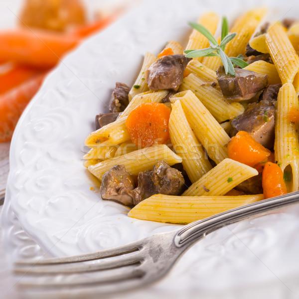 Gıda sağlık yeşil yağ akşam yemeği et Stok fotoğraf © Dar1930