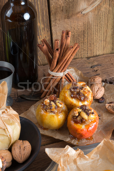Apple with nut caramel filling Stock photo © Dar1930