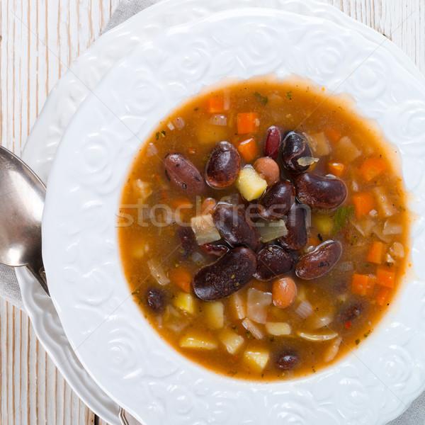 Forte sopa de feijão comida vermelho almoço colher Foto stock © Dar1930