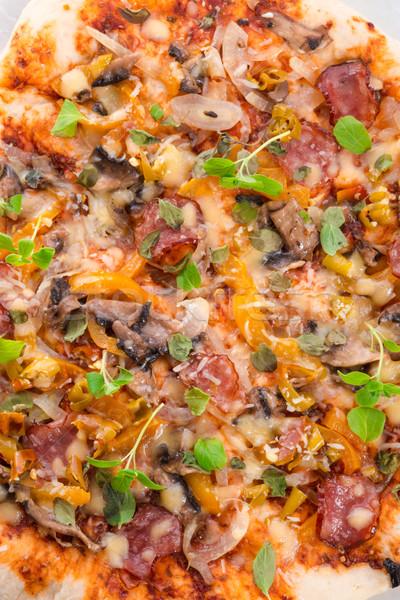 Casero pizza alimentos jardín cocina queso Foto stock © Dar1930