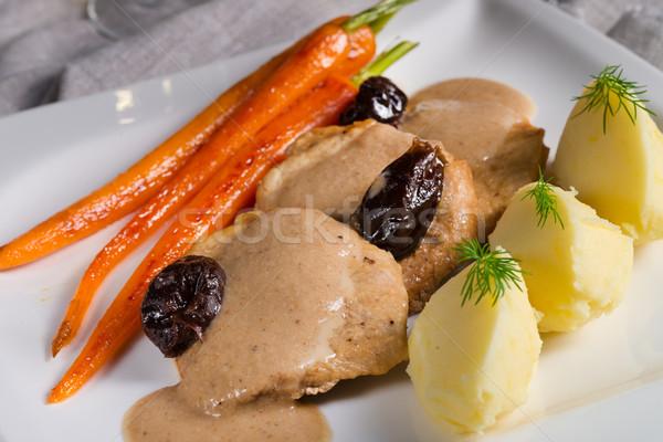 pork tenderloin in plum sauce Stock photo © Dar1930