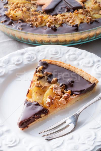 Peras chocolate tarta torta desayuno blanco Foto stock © Dar1930
