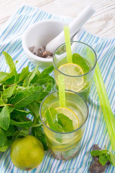 Mojito voedsel partij glas zomer ijs Stockfoto © Dar1930