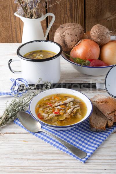 vegetarian parasol mushroom soup Stock photo © Dar1930