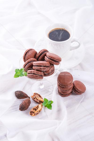 çikolata macarons kakule gıda bar şeker Stok fotoğraf © Dar1930