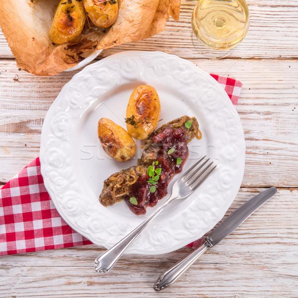 Lever bakken aardappel restaurant kip Stockfoto © Dar1930