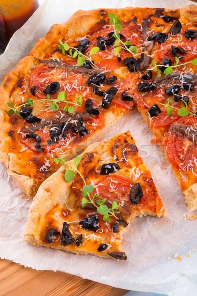 Olijfolie pizza voedsel hout kaas olie Stockfoto © Dar1930