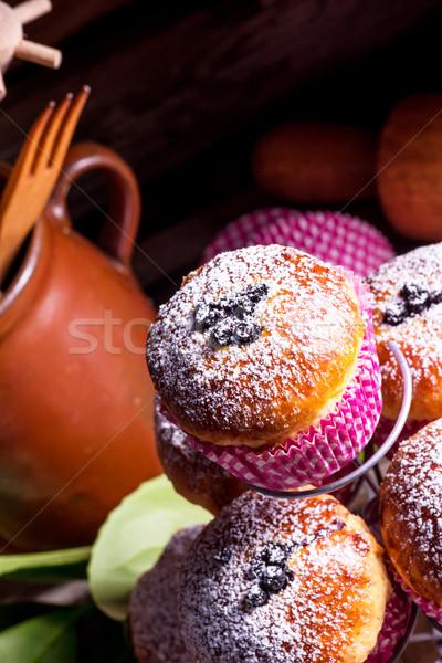 Stok fotoğraf: Yaban · mersini · arka · plan · tablo · mavi · ekmek