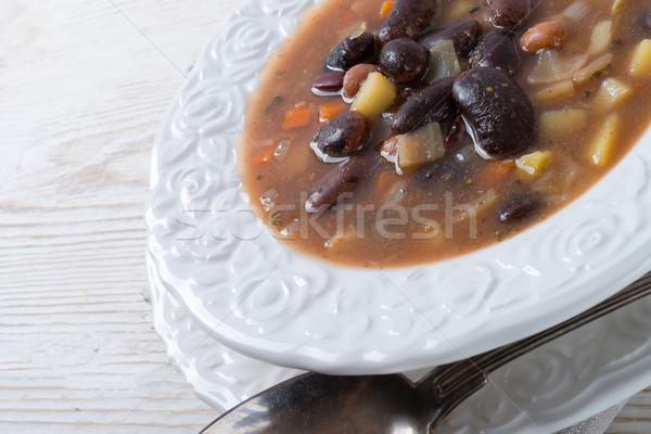 Fuerte sopa de frijol alimentos rojo almuerzo cuchara Foto stock © Dar1930