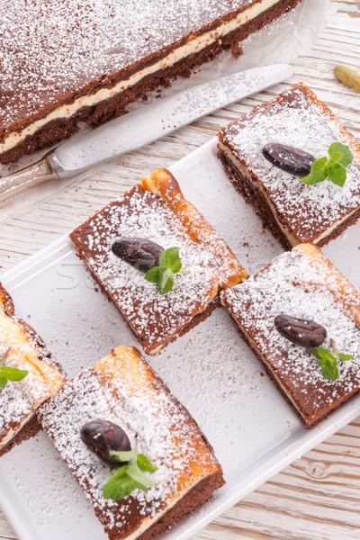 Csokoládé sajttorta étel otthon torta sajt Stock fotó © Dar1930