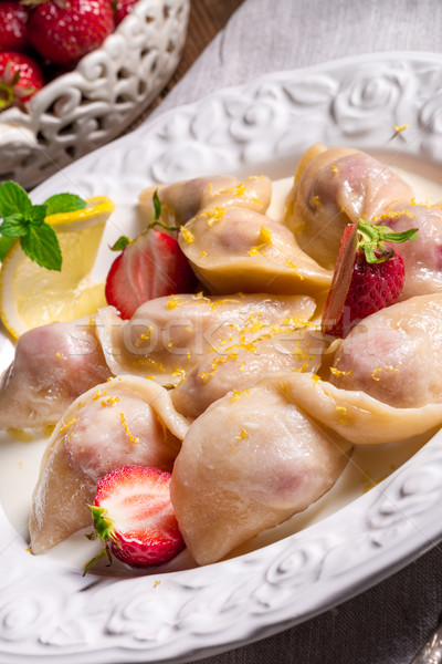 pierogi with strawberries Stock photo © Dar1930