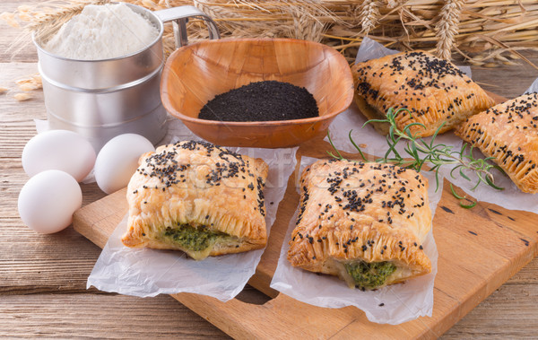 puff pastry with spinach filling and black cumin Stock photo © Dar1930