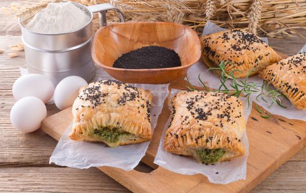 Sütemény spenót tömés fekete kömény étel Stock fotó © Dar1930