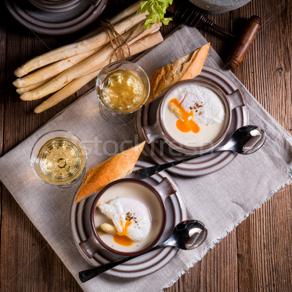 Asparagus Soup with poached egg  Stock photo © Dar1930