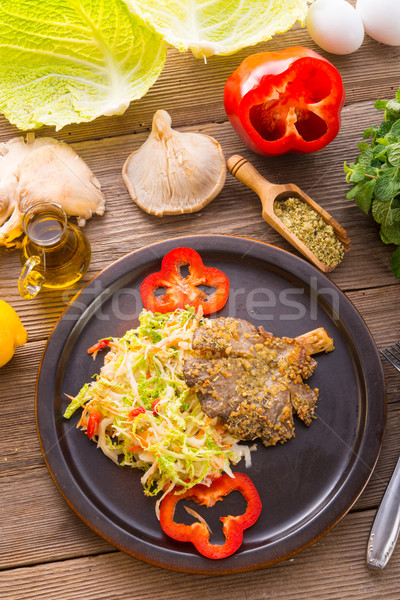 baked oyster mushrooms with fresh savoy cabbage salad Stock photo © Dar1930