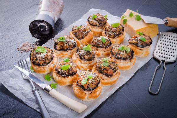 Gebak voedsel christmas champignon Grieks gesneden Stockfoto © Dar1930
