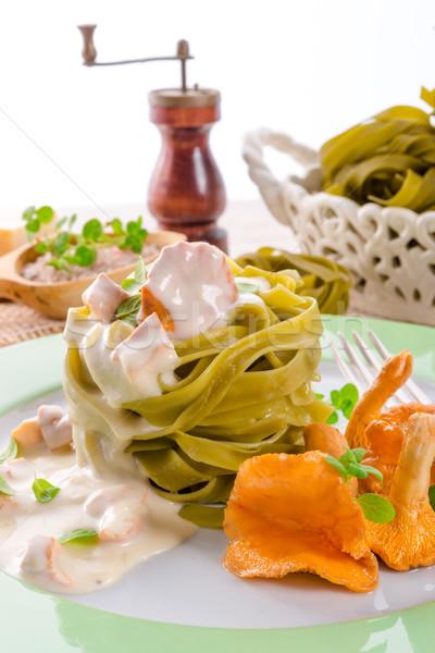 Tagliatelle voedsel blad achtergrond kaas diner Stockfoto © Dar1930