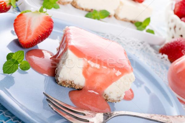 Cheese cake with strawberry sauce Stock photo © Dar1930