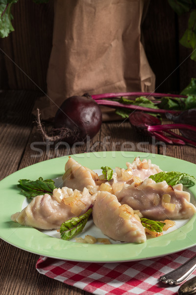 Remolacha queso relleno alimentos cena blanco Foto stock © Dar1930