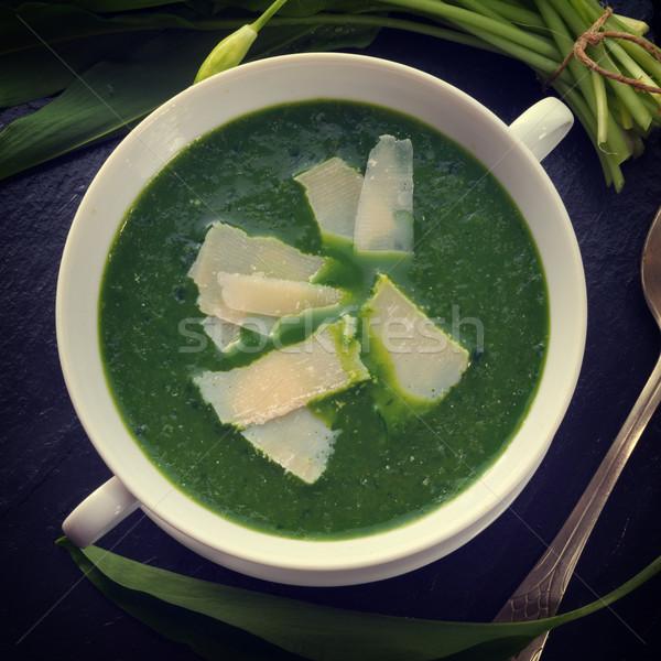 wild garlic soup with Parmesan Stock photo © Dar1930