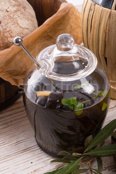 Antipasti olives bois santé restaurant vert Photo stock © Dar1930