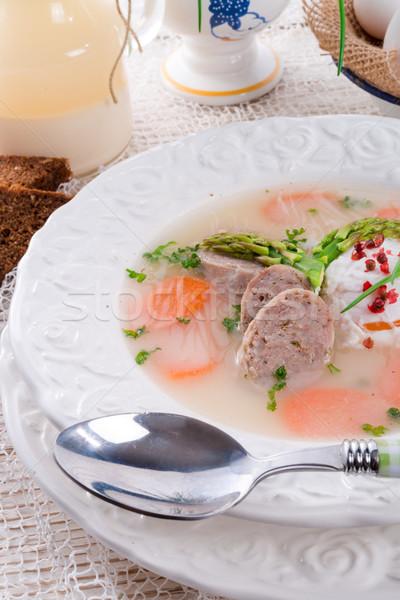 Branco páscoa jantar ovos ovos de páscoa sopa Foto stock © Dar1930