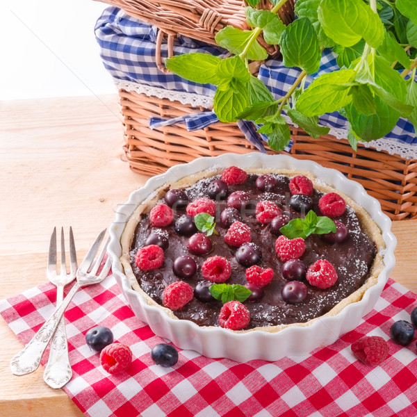 Stock photo: chocolate tartelette with forest fruits
