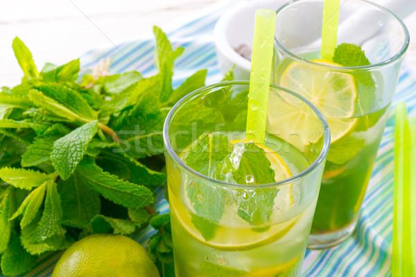 Mojito comida festa vidro verão gelo Foto stock © Dar1930