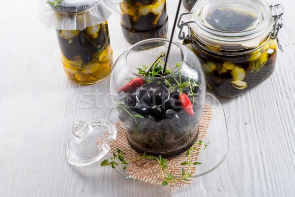 épicé mariné olives alimentaire fond salade Photo stock © Dar1930