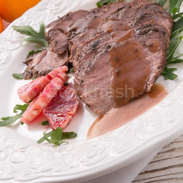 Knapperig borst oranje voedsel restaurant Rood Stockfoto © Dar1930