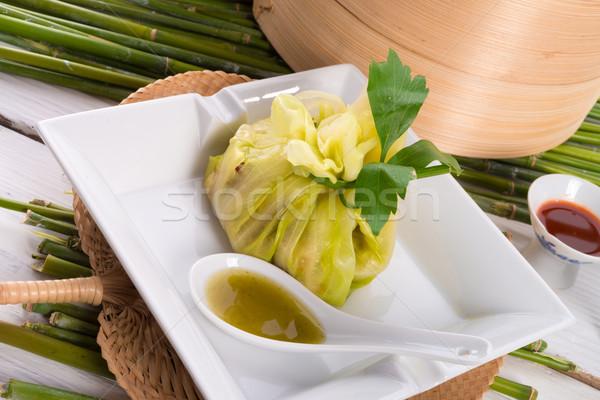 Foto stock: Repolho · arroz · sacos · comida · verde · folhas