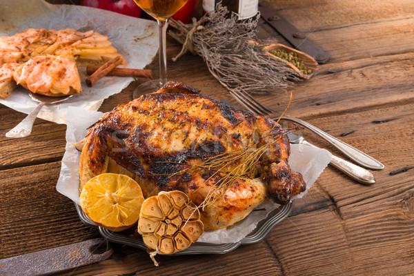 Foto stock: Frango · comida · jantar · gordura · cozinhar