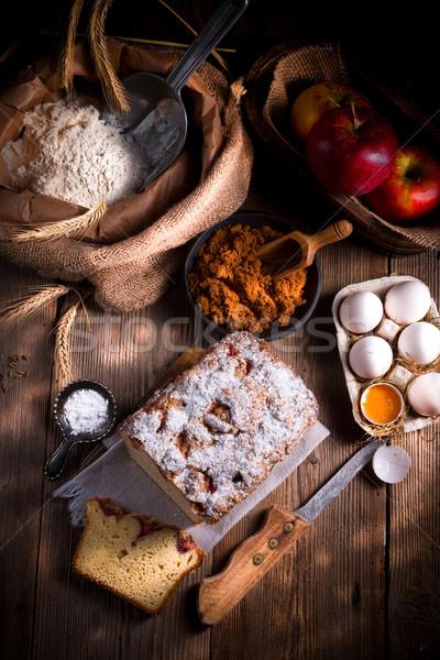 дрожжи торт продовольствие кофе рождения пластина Сток-фото © Dar1930