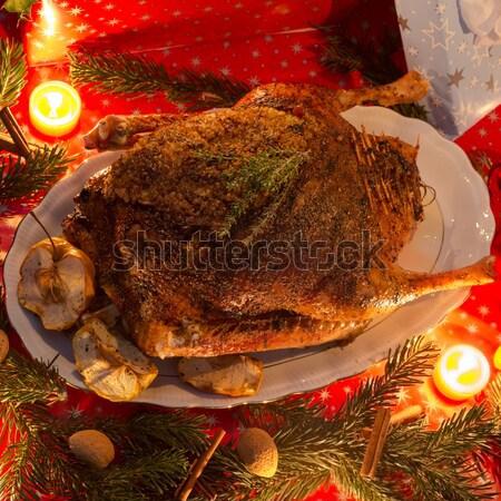 Stockfoto: Christmas · gans · appel · vruchten · glas · kip
