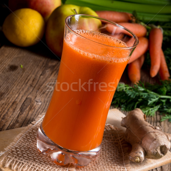 Stock photo: freshly squeezed carrot juice