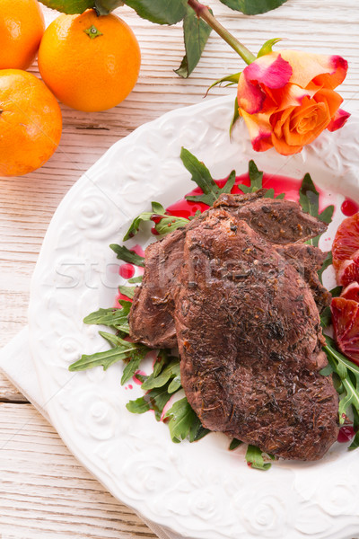 crunchy duck's breast with orange and rucola Stock photo © Dar1930